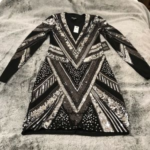 Geometric Sequin Long Sleeve Deep V Mini Dress